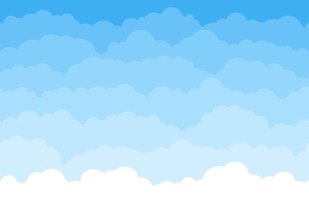 青い空と雲と抽象的なシームレスな漫画の背景。夏のふわふわ睡眠雲の壁紙。平らな夢の白い雲のベクトルパターン。積雲のある天国、美しい雲景