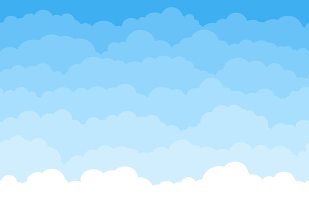 Abstract seamless cartoon background with blue sky and clouds. summer fluffy sleep cloud wallpaper. flat dream white clouds vector pattern. heaven with cumulus, beautiful cloudscape