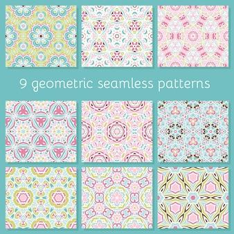 抽象的なシームレスなかわいいカラフルな幾何学模様のセット