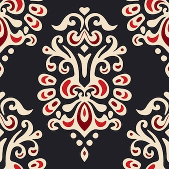 Abstract seamless damask floral vector pattern for fabric