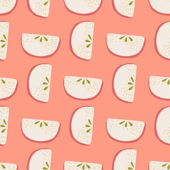 Abstract seamless doodle patern with light pastel apple slices silhouettes. pink background. graphic design for wrapping paper and fabric textures. vector illustration.
