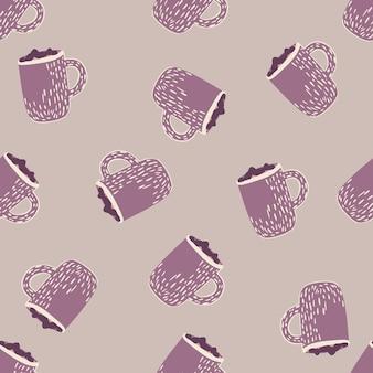 紫色のココアカップ飾りと抽象的なシームレスな落書きパターン。