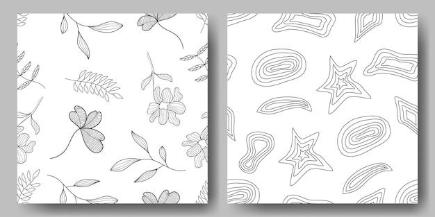 アウトラインスタイルの抽象的なシームレスな花と抽象的な幾何学的形状パターン