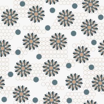 추상 원활한 꽃 패턴 일본 빈티지 스타일 꽃 파도 모양 기하학적 요소