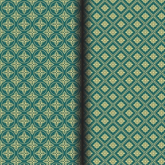 Abstract seamless flower pattern on a green background