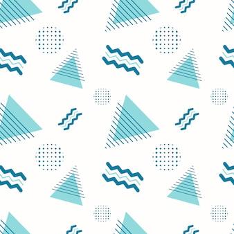 추상 완벽 한 기하학적 패턴입니다. 흰색 배경에 다양한 모양, 삼각형, 지그재그 및 점이 있는 배경 또는 포장지. 장식 템플릿입니다.