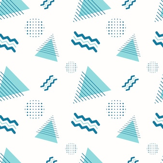 Abstract seamless geometric pattern. background or wrapping paper with various shapes, triangles, zigzags and dots on a white backdrop. ornament template.