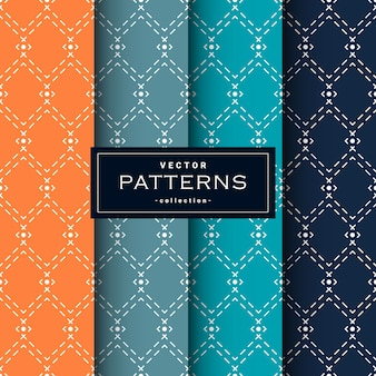 Abstract seamless geometric patterns set in four colors