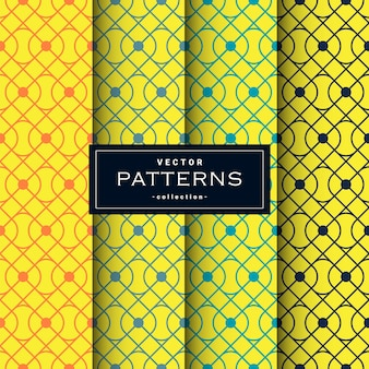 Abstract seamless geometric patterns set in yellow colors