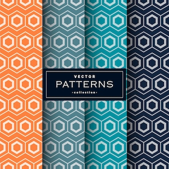 Abstract seamless geometric patterns set