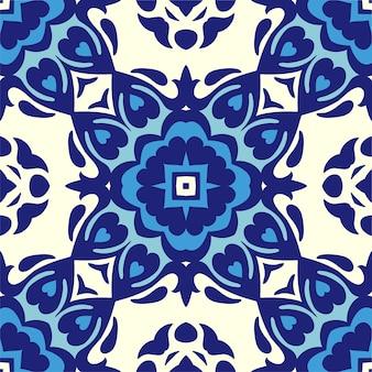 抽象的なシームレスな装飾用の青と白の色のタイルパターン