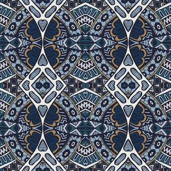 抽象的なシームレスな装飾用の青いアラベスクメダリオンダマスクパターン