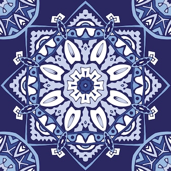 Abstract seamless ornamental blue arabesque medallion