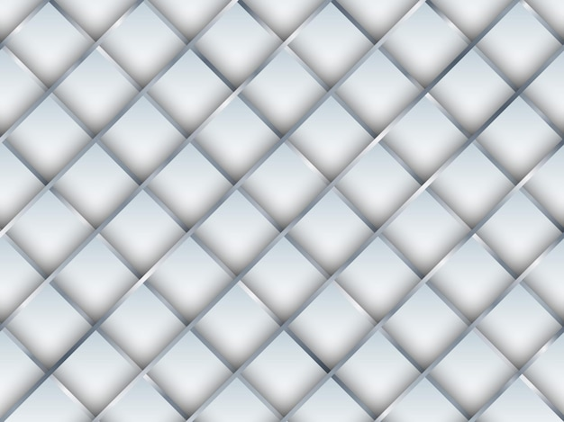 Abstract seamless pattern 3d white square with silver gradient grid lines background and texture. vector illustration