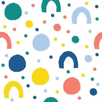 抽象的なシームレスなパターンの背景。デザインカード、壁紙、アルバム、スクラップブック、ホリデーラッピングペーパー、テキスタイルファブリック、バッグプリント、tシャツなどの幼稚なシンプルなアプリケーションの幾何学的なカバー。