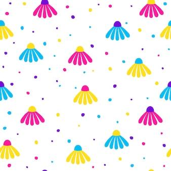추상 원활한 패턴 배경입니다. 디자인 생일 카드, 파티 초대장, 벽지, 휴일 포장지, 직물, 가방 인쇄, 티셔츠, 워크샵 광고를 위한 현대적인 미래형 삽화
