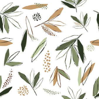 Abstract seamless pattern background tea tree drawing art vector and illustration