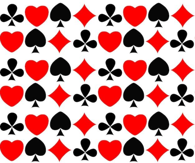 カードスーツと抽象的なシームレスパターンの背景。ベクトルイラスト。 eps10