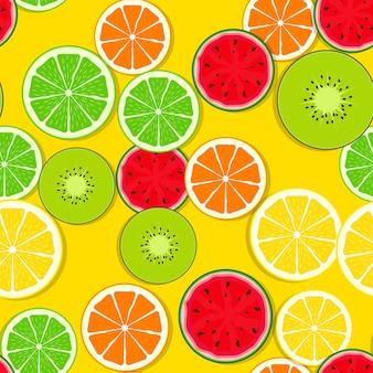 新鮮な果物と抽象的なシームレスパターンの背景。