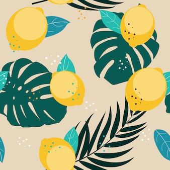 レモンとヤシの葉のイラストが抽象的なシームレスパターン背景