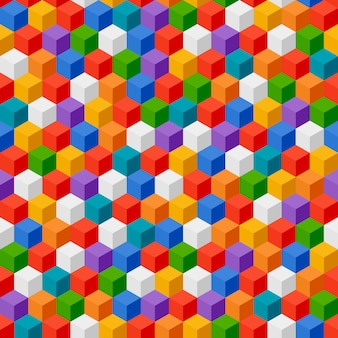 Abstract seamless pattern of color cubes.
