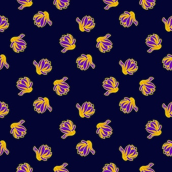 Abstract seamless pattern in dark tones with magnolia yellow and purple bright ornament. vector illustration for seasonal textile prints, fabric, banners, backdrops and wallpapers.