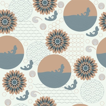 Abstract seamless pattern japanese vintage style flowers waves geometric elements white background