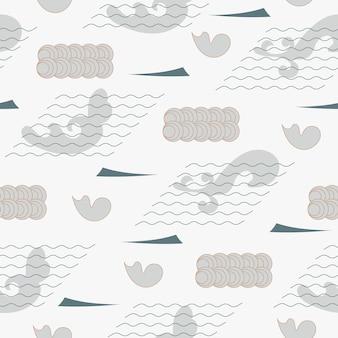 추상 원활한 패턴 일본 빈티지 스타일 파도 모양 기하학적 요소 장식