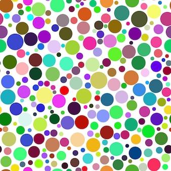さまざまな色のさまざまなサイズの円の抽象的なシームレスパターン