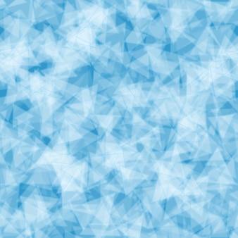 연한 파란색으로 무작위로 분포된 반투명 삼각형의 추상 원활한 패턴