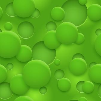 Абстрактный бесшовный паттерн или фон отверстий и кругов с тенями в зеленых тонах