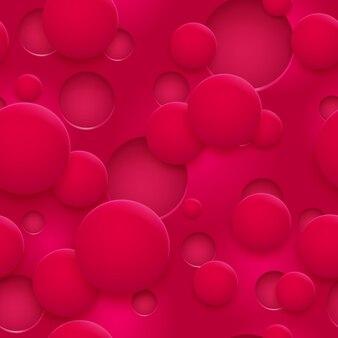 抽象的なシームレスなパターンまたは赤い色の影と穴や円の背景