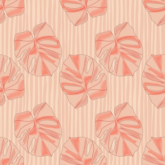 Abstract seamless pattern in pastel tones with simple monstera silhouettes.