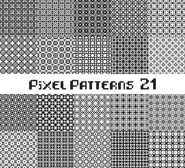 Abstract seamless pattern in pixel style. set mosaic geometric design