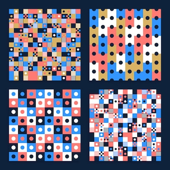 Abstract seamless   pattern set made with circular geometric shapes or dots with line.