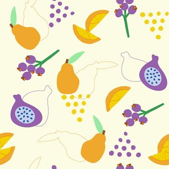 Abstract seamless pattern of simple shaped fruit