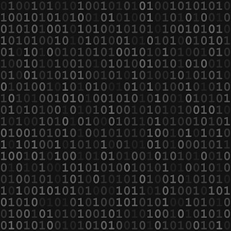 Abstract seamless pattern of small digits one and zero in gray and black colors