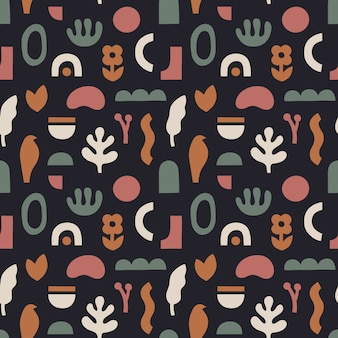Abstract seamless pattern in trendy collage style.