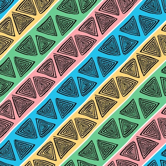 Abstract seamless pattern of triangles black hand-drawn spirals on colorful striped background