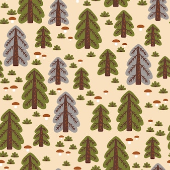 Abstract seamless pattern with autumn forest. great for fabric, textile, wrapping paper
