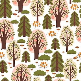 Абстрактный бесшовные модели с осенним лесом. отлично подходит для ткани, текстиля, оберточной бумаги