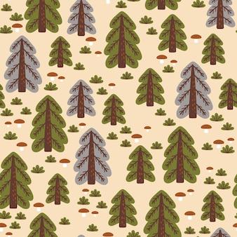 秋の森と抽象的なシームレスパターン。布、テキスタイル、包装紙に最適