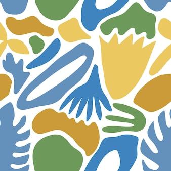 青い自然の形やマークと白のエキゾチックな葉を持つ抽象的なシームレスパターン