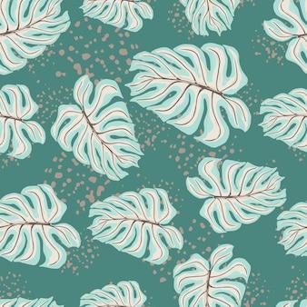 青いランダムなヤシの葉のモンステラ飾りと抽象的なシームレスパターン。水しぶきとターコイズブルーの背景。