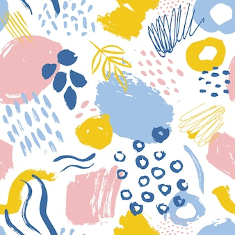 Abstract seamless pattern with colored paint smudges, traces and drops