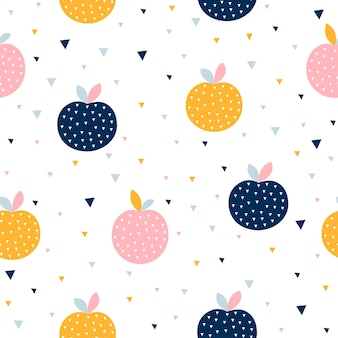 다채로운 사과와 추상 원활한 패턴