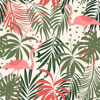 Abstract seamless pattern with colorful tropical leaves and flamingos on pastel