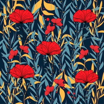 Abstract seamless pattern with colorful tropical leaves and flowers on blue
