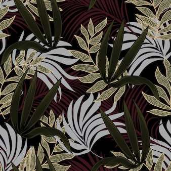 Abstract seamless pattern with colorful tropical leaves and plants on black background