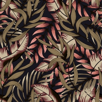 Abstract seamless pattern with colorful tropical leaves and plants on dark background